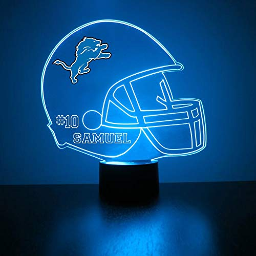 Mirror Magic Store Detroit Lions Football Helmet LED Night Light with Free Personalization - Night Lamp - Table Lamp - Featuring Licensed Decal