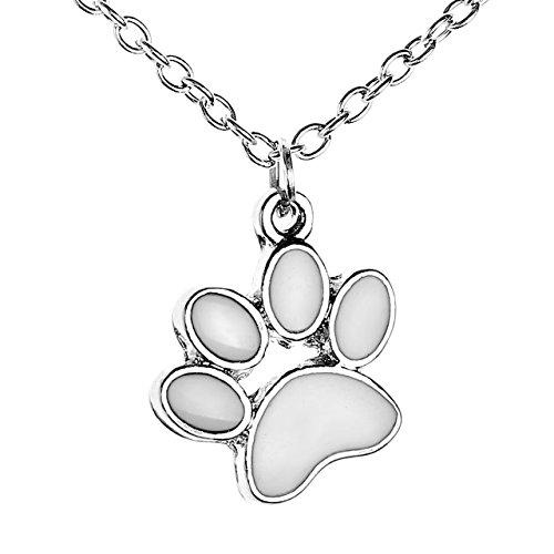Paw Print Enamel (JOVIVI Silver Tone Cute Dog Puppy Paw Print Enamel Lucky Charm Bead Necklace Animal Lover Gift )