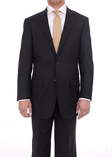 150s Wool Suit - The Suit Depot Men's Regular Fit Black Pinstriped Two Button Super 150s Wool Suit