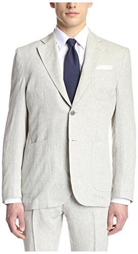 Price comparison product image Hardy Amies Men's 2 Button Patch Pocket Notch Lapel Linen Sportcoat, Stone, 42R US