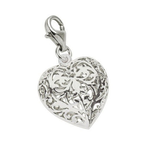 Sterling Silver Filigree Heart Charm With Lobster Claw Clasp, Charms for Bracelets and Necklaces (Sterling Silver Heart Lobster Claw)
