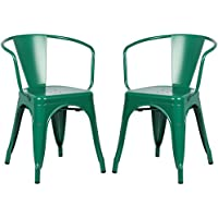 Poly and Bark Trattoria Arm Chair in Dark green (Set of 2)