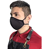Face Mask - Over the Head Elastic Loop - Double Layer, Filter Pocket - Reusable, Washable - Black Twill - Adult, Unisex - New Bigger Size
