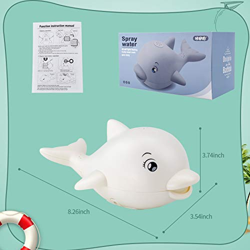 Brekya Baby Bath Toys,Automatic Spray Water Bath Toy with LED Light Music,Induction Sprinkler Dolphin Bathtub Toys, Best Gift for Kids Toddlers Boys Girls,Swimming Pool Shower Outdoors Beach (White)