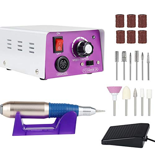 Electric Nail Drill 25000RPM, Professional Nail Drill Kit For Acrylic, Gel Nails, Manicure Pedicure Polishing with 11Pcs Nail Drill Bits and Sanding Bands, BEquipment for Home and Salon