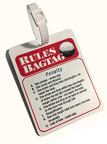 Golf Rules Reference Tag - Rules Bag Tag. Learn to Play Properly - Made in USA