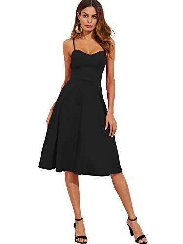 Floerns Women's Spaghetti Straps Backless Flared Cocktail Party Dress Black S