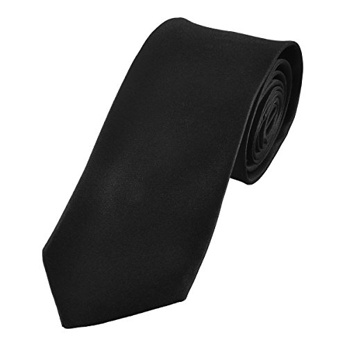 Solid Necktie by Murong Jun | Great for a Wedding or Tuxedo(11 Colors) (Black) (100% Silk Solid Necktie)