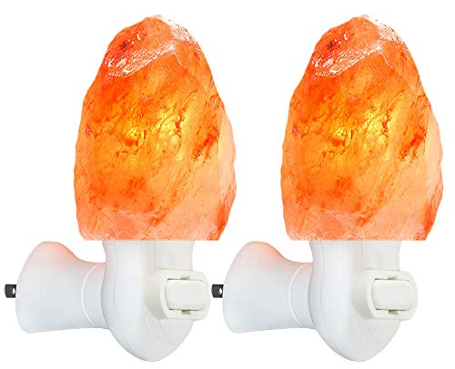2 Pack Himalayan Salt lamp Night Light Salt Rock Hand Carved Natural Pink Himalayan Salt Lamps for bedrooms Night Light Plug in Wall Light Bulb Air Purifying Lighting/Decor