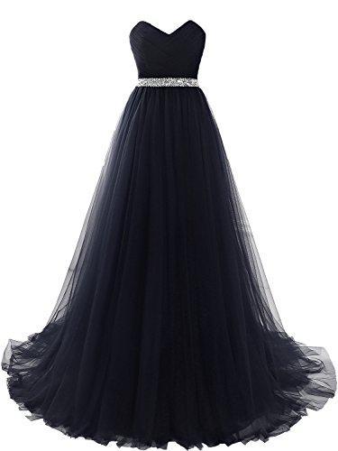 Sarahbridal Damen Tüll Bandeau A-Linie Lang Abendkleider Ballkleider Quinceanera festlich Kleider S16422 Marineblau lFBs0gT