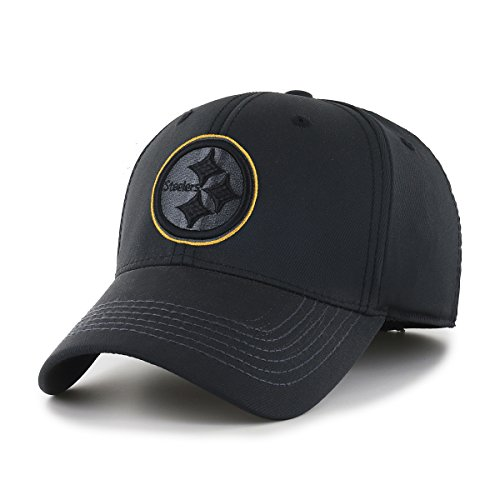 OTS NFL Pittsburgh Steelers Wilder Center Stretch Fit Hat, Black, Medium/Large