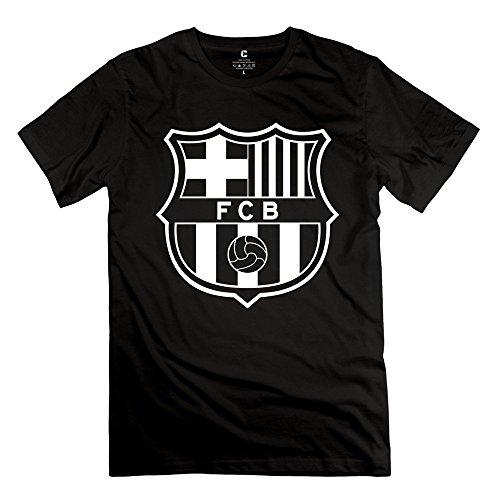 HM Men's T-shirt White FC Barcelona Logo Size S Black