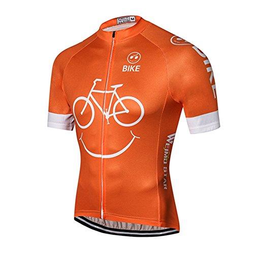 Weimostar Men's Cycling Jersey Mountain Bike Jersey Biking Shirt Jacket 2019 Short Sleeve MTB Clothing Smile Orange Size L (Best Bike Jerseys 2019)