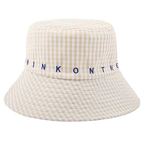 Women's Lattice Letter Cap Cotton Adults Bucket Hat - Winter Fishing Fisher Beach Festival Sun Yellow