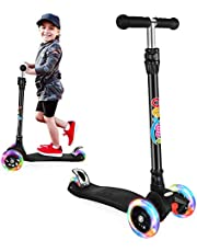 BELEEV Scooters for Kids 3 Wheel Kick Scooter for Toddlers Girls & Boys, Scooter with 3 Adjustable Height, LED Light Up Wheels for Children from 3 to 12 Years Old