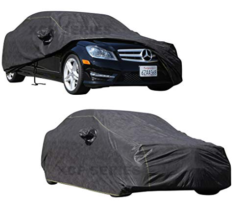 CAR COVER 2010 2011 2012 2013 2014 Mercedes C-Class C250 C350 C63 AMG Car Accessories Indoor Outdoor Protection Dust Cover Best Vehicle Accessories with Pocket Mirror (Jet Black)