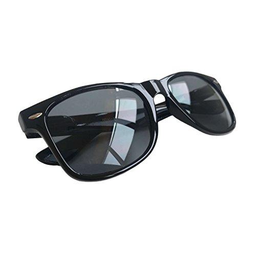 Wayfarer Sunglasses Classic Black Frame Black Lens UV400 - Black High Quay Key