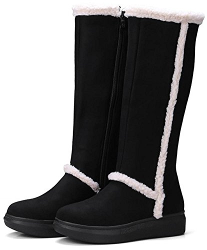 Easemax Women's Dressy Faux Suede Round Toe Side Zipper Low Wedge Heels Mid Calf Boots Black bdyVNIB