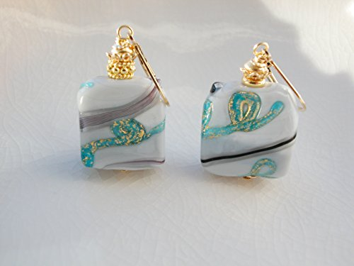 - Square Murano Glass Earrings