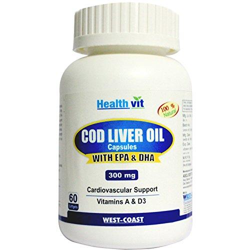 Healthvit Cod Liver Oil 300Mg 60 Softgels Capsules