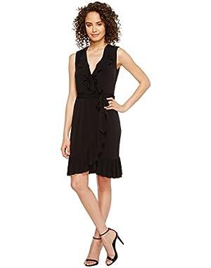 Calvin Klein Womens Ruffle Neck Jersey Dress