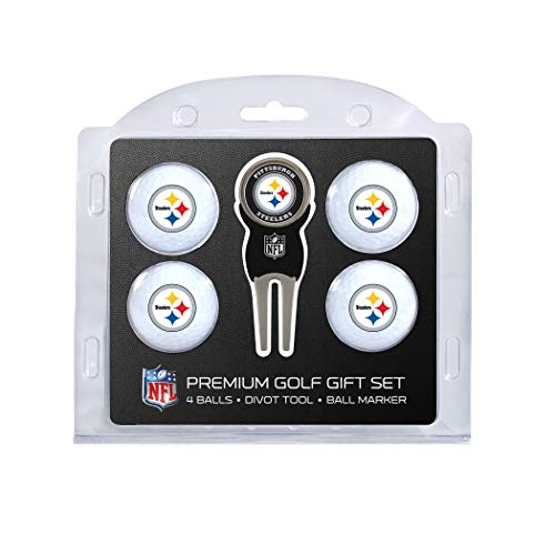 Team Golf NFL Pittsburgh Steelers Regulation Size Golf Balls (4 Count) & Divot Tool with Removable Double-Sided Magnetic Marker -  637556324061