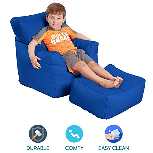 FDP SoftScape Bean Bag Chair and Ottoman Set, Furniture for Kids, Perfect for Reading, Playing Video Games or Relaxing, Alternative Seating for Classrooms, Daycares, Libraries or Home - Blue (Best Games For Relaxing)