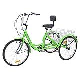 MOPHOTO Adult Tricycle Trike Cruiser Bike Three-Wheeled Bicycle w/Large Basket and Maintenance Tools, Men's Women's Cruiser Bicycles, 24 Inch Wheel Size Bike Trike