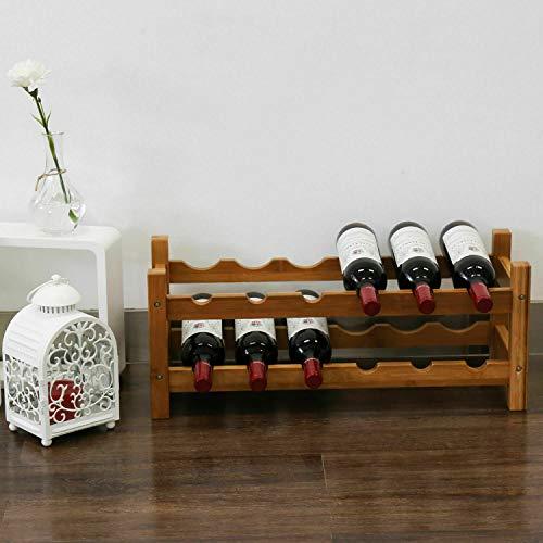 Kinbor 12-Bottle 2-Tiers Natural Bamboo Wine Display and Storage Rack