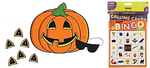 happy deals Halloween Bingo Game + pin The Nose Pumpkin Game - Set of 2 Halloween Party Games