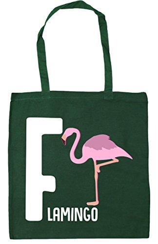 10 Hippowarehouse Alphabet For Beach 42cm Tote Green Animal X38cm Shopping Bottle Litres Gym Flamingo F Bag FrFwqR7