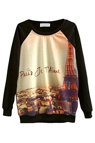 Pink Queen Unisex Tour Eiffel Printed Crewneck Pullover Sweatershirts