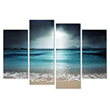 Printed oil paintings landscape Blue ocean print Art Wall Decorative Canvas Print Set Of 4 (no frame) canvas painting 30x80cmx2(12*32inch) 30x60cmx2(12*24inch)SKY-NO8