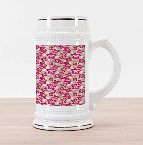 (Ambesonne Flower Beer Stein Mug, Tropical Blooms Hibiscus Petals Caribbean Vibes Aloha Seascape Summer Pattern, Traditional Style Decorative Printed Ceramic Large Beer Mug Stein, Tan Magenta)