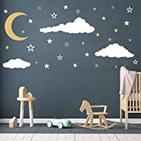 Moon, Stars and Clouds Wall Decals, Kids Wall Decoration, Nursery Wall Decal, Wall Decal for Nursery, Vinyl Wall Stickers for Children Baby Kids Boys Girls Bedroom(Y08) (White,Gold)