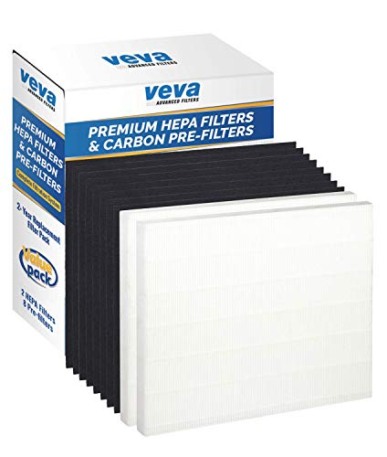 VEVA 2 Premium HEPA Filter Including 8 Carbon Pre Filters Compatible with AP-1512HH 3304899 CW Air Purifier Advanced Filters ()