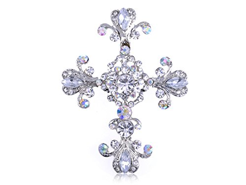 Costume Jewellery Brooches Wholesale (Alilang Silver Tone Cross Antique Gorgeous Rhinestones Costume Pin Brooch)