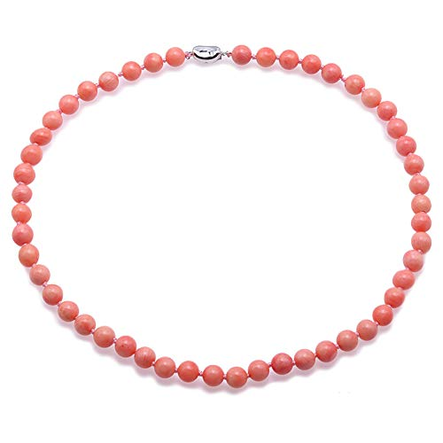 JYX Red Coral Beaded Necklace 8.0-8.5mm Natural Round Pink Coral Necklace for Women 18.5