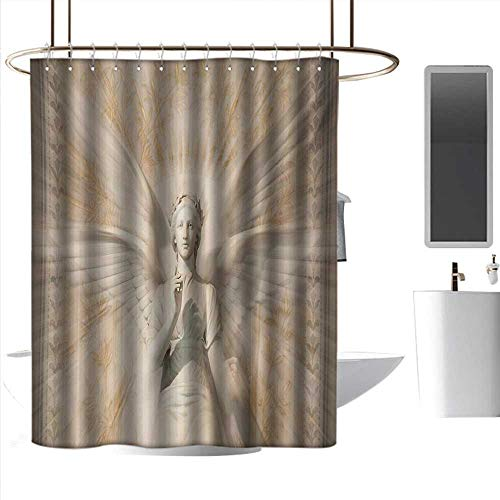 Angel Statue Woodland - J Chief Sky Shower Screen Sculptures,Statue of Angel Woman in Medieval Cathedral Site Vintage Style Mythical Design,Yellow White Bathroom Curtain with 12 Hooks W72 x L96 Inch