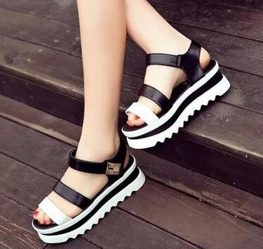 KHSKX-Muffin Platform Sandals Summer And Black Muffin Thick Soled Sandals Female Super High Heels Wedges Toe Fashion Thirty-nine GmkHQitGBz