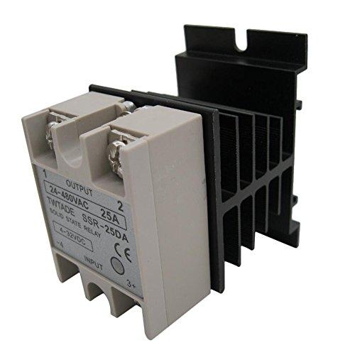 TWTADE SSR-25 DA 25A 3-32V DC / 24-380V AC Solid State Relay + Heat Sink