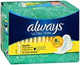 Always Ultra Thin Maxi Pads with Flexi-Wings Regular - 12 packs of 18, Pack of 2