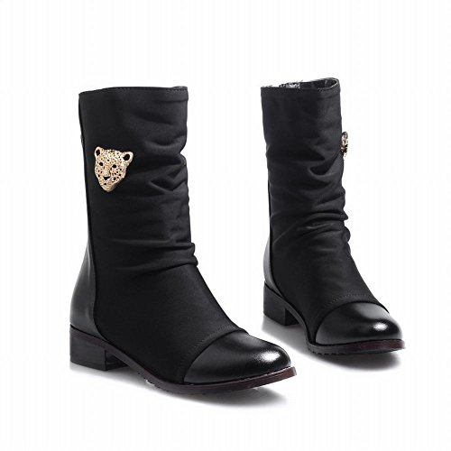 Charm Foot Womens Vintage Low Heel Mid Calf Stivali Da Equitazione Neri
