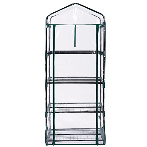 41mx3fYCISL - VonHaus 4 Tier Portable Mini Compact Greenhouse with Clear PVC Cover - Unit: 63 x 28 x 20 inches