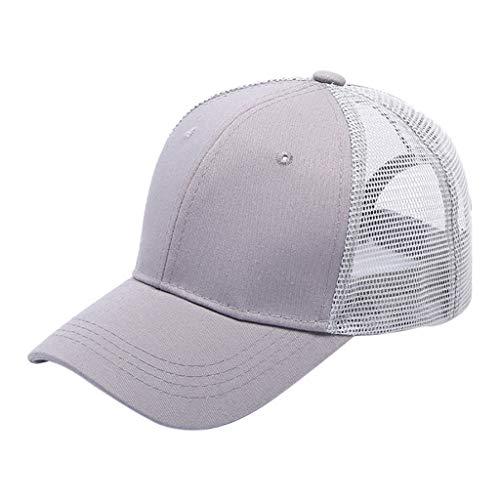 - XILALU Ponytail Messy Buns Trucker Plain Mesh Baseball Visor Cap Dad Hat Gray