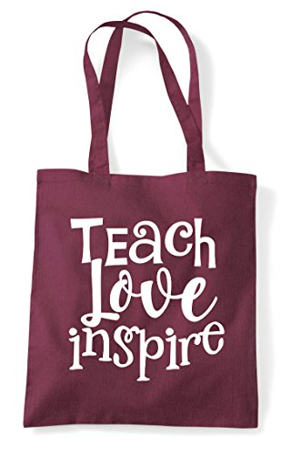 Teach Inspire Shopper Tote Burgundy Statement Love Bag 44wrq8H