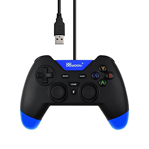 Doklos USB Wired Gaming Controller with Dual-Vibration Turbo for PS3 / PC (Windows XP / 7 / 8 / 8.1 / 10) / Android / TV Box (BlackBlue)