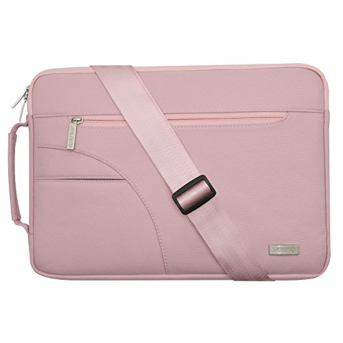 Mosiso Laptop Shoulder Bag for 15-15.6 Inch MacBook Pro, Ultrabook Netbook Tablet, Polyester Ultraportable Protective Briefcase Carrying Handbag Sleeve Case Cover, Pink