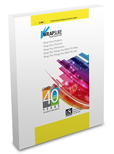 USI WrapSure Thermal (Hot) Laminating Pouches/Sheets, Menu Size, 5 Mil, 12 x 18 Inches, Clear Gloss, Box of 100