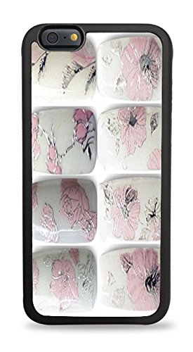 Trendy Accessories Nail Font Art - Pink Flowers - Sticker 3D Design Print Black Silicone Case for iPhone 6 (4.7)